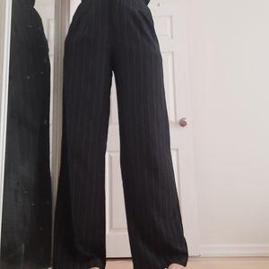 Wide-leg black & gray striped high waiste trousers
